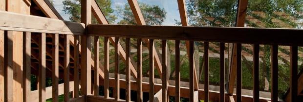 Chalupy k pronájmu na Šumavě - krytá veranda s výhledem na Otavu